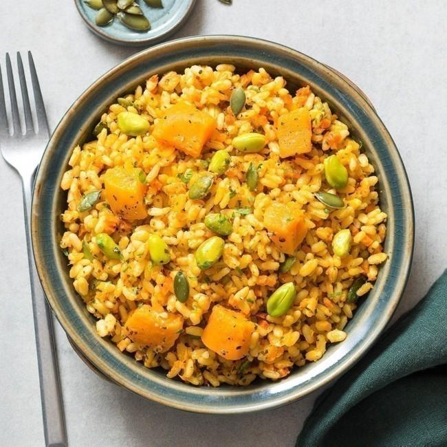 Risotto butternut, graines de courge et pistache et son jus carotte gingembre
