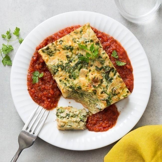 Omelette façon tortilla et sa compotée de tomate