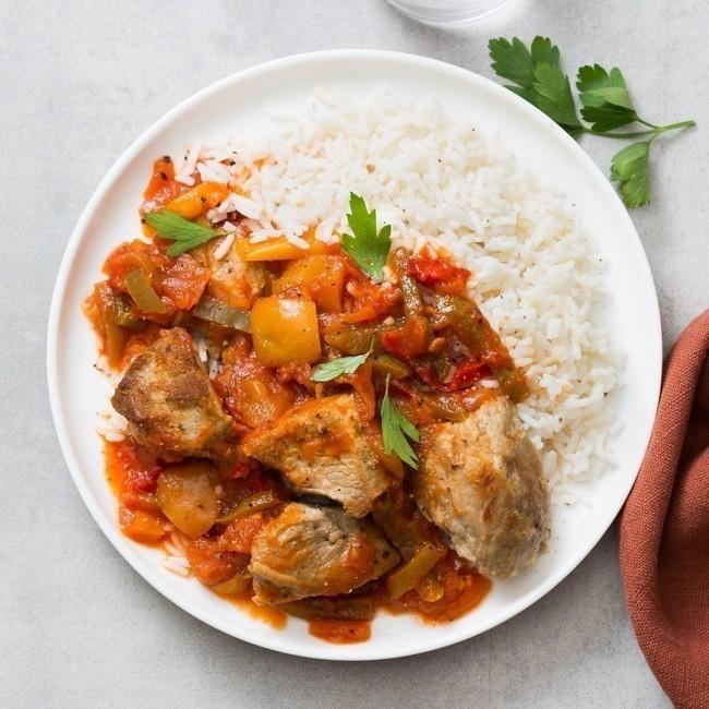 Veau cuisiné aux légumes à la basquaise et son riz blanc