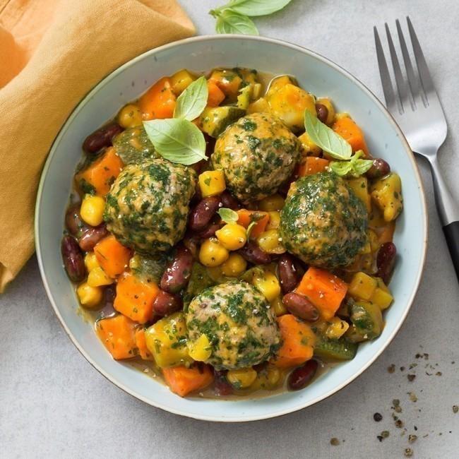 Tagine de légumes à la Marocaine et ses boulettes au boeuf