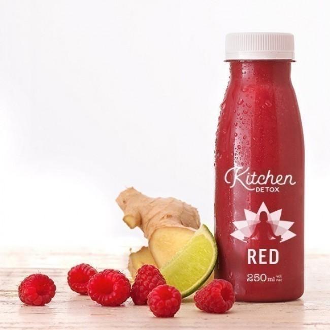 Jus détox RED - Pomme, framboise, litchi, lime, baie de goji, gingembre et fleur d'Hibiscus
