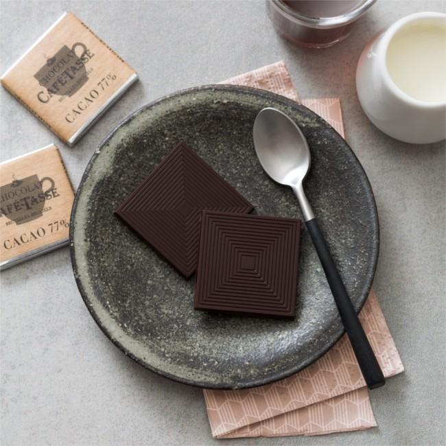 Carrés de chocolat noir 5g, 77% cacao