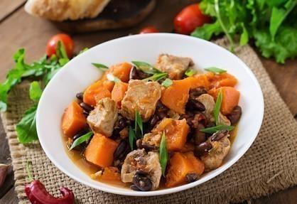 saute porc potiron haricots rouges